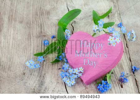 Pink Wooden Heart Shape With Text Happy Mothers Day And Forgetmenot