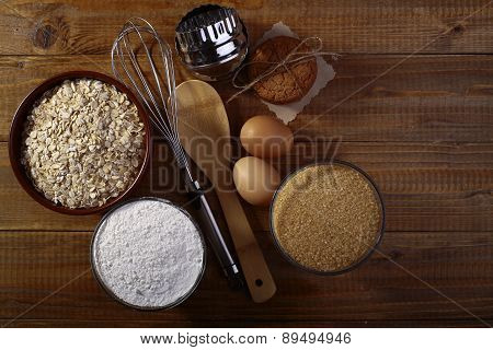 Set Of Ingredients And Appliances For Baking