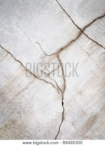 White Plaster Split With Cracks