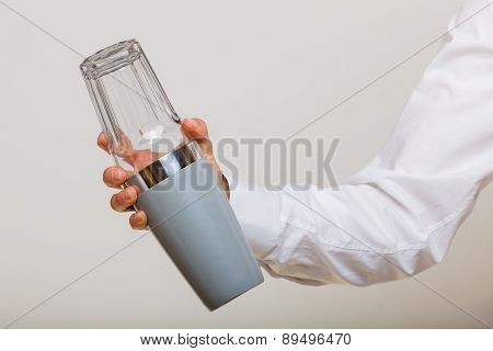Man With Shaker Making Cocktail Drink