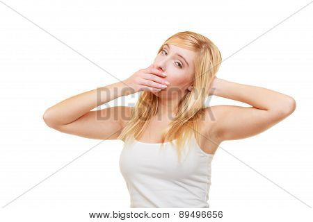 Sleepy Tired Young Woman Teen Girl Yawning