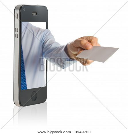 Hand Showing A Blank Business Card