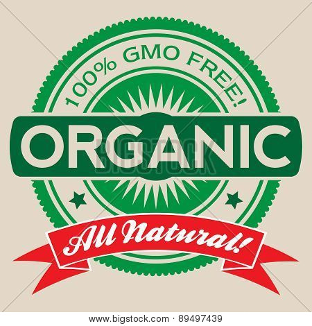 Gmo Free Organic Vector Label Isolated
