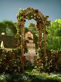 picture of climbing roses  - 3D computer graphics of an arch of red and white roses - JPG