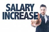 stock photo of paycheck  - Business man pointing the text - JPG