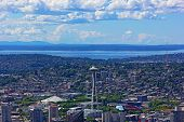 stock photo of view from space needle  - Puget Sound and Seattle city aerial view - JPG