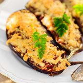 foto of crust  - Meat and Tomato Stuffed Eggplant Halves with Cheese Crust square - JPG