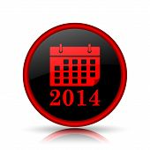 picture of calendar 2014  - 2014 calendar icon red and black round Internet button on white background - JPG