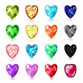 pic of gem  - Set of colored heart cut gems isolated on white background vector illustration - JPG
