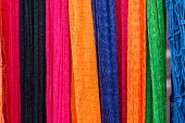 foto of nylons  - Colorful of hammock made from nylon hanging for sale - JPG