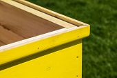 picture of bee keeping  - Part of an yellow wooden freshly painted beehive on a grass background - JPG