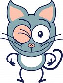 picture of eye-wink  - Cute gray cat in minimalistic style with pointy ears - JPG