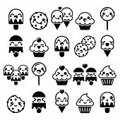 picture of kawaii  - Vector icons set of Kawaii sweets isolated on white - JPG