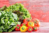 picture of butter-lettuce  - Healthy fresh salad ingredients at a farm market with assorted lettuce varieties displayed on rustic wooden boards with ripe red tomatoes and sweet bell peppers with copyspace - JPG