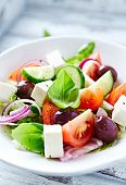 pic of kalamata olives  - Bowl of colorful summer salad with feta and olives - JPG