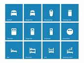 image of bunk-bed  - Furniture and bed icons on blue background - JPG