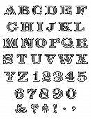 foto of batik  - Black and white alphabets set with batik pattern - JPG