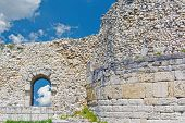 foto of fortified wall  - Ruins of ancient fortress wall in the museum of Chersonesos in Sevastopol town - JPG