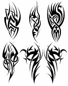 stock photo of tribal  - Set of tribal tattoos - JPG
