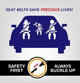 picture of seatbelt  - Family on a car wearing safety belt while traveling and a visual instruction to always buckle up for safety purposes - JPG