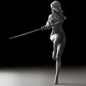 picture of longsword  - Female martial artist posing with a sword in black and white  - JPG