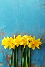 stock photo of daffodils  - Beautiful bouquet of yellow daffodils on wooden background - JPG