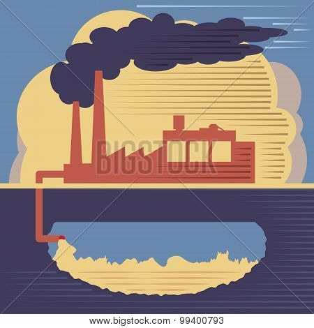 Factory Building - Air And Soil Pollution
