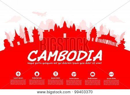 Beautiful Cambodia Travel Landmarks.