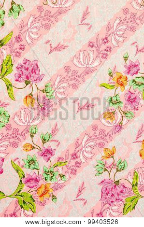 Batik Sarong Pattern Background In Thailand.