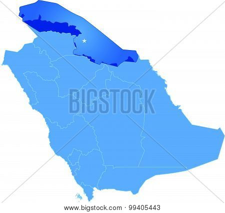 Map Of Saudi Arabia, The Region Northern Borders