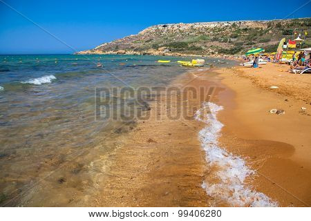 Orange sand on the beach