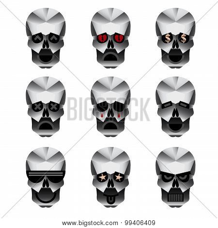 Happy Skull Emotion Icons Set
