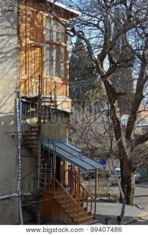 Fragment of residential house with spiral staircase. Tbilisi, Georgia