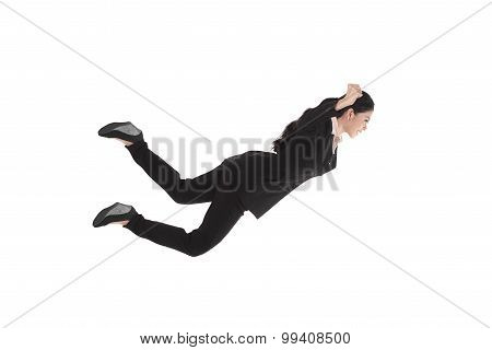 Falling And Screaming Business Woman In Formal Wear