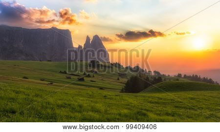 Schlern Mountain With Pasture At Sunset, South Tyrol, Italy