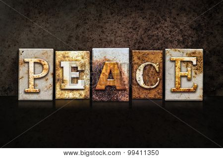 Peace Letterpress Concept On Dark Background