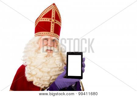 Sinterklaas with tablet. isolated on white background. Dutch character of Santa Claus