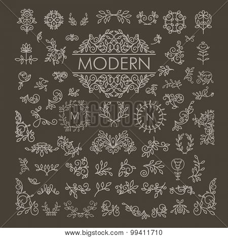 Big Vector set of line floral design elements for logos, frames and borders in modern style. Good for wedding invitations, page decoration e.t.c.