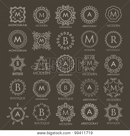 Big set of  Logos templates  calligraphic elegant ornament line designs. Floral motifs. Business sign, identity for Restaurant, Royalty, Fashion and other vector illustration. Monograms.
