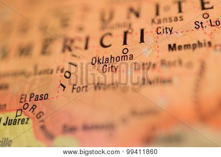 Map View Of Oklahoma City On A Geographical Globe