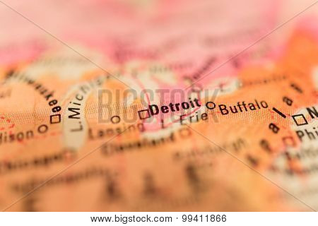Map View Of Detroit On A Geographical Globe