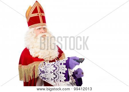 Sinterklaas with TV remote . isolated on white background. Dutch character of Santa Claus