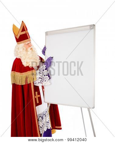 Sinterklaas writing on blank whiteboard. isolated on white background. Dutch character of Santa Claus