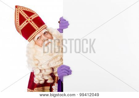 Sinterklaas with white cardboard. isolated on white background. Dutch character of Santa Claus