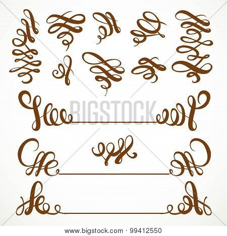 Calligraphic Vintage Curls Elements Set Isolated On A White Background