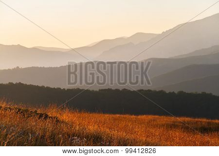 Mountain ridges at sunrise in Balkan mountain