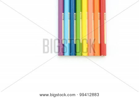 Rainbow pencils color vertical alignment isolated in white background