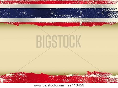 Thai horizontal scratched flag. A background with a scratched flag of Thailand and a frame for your message