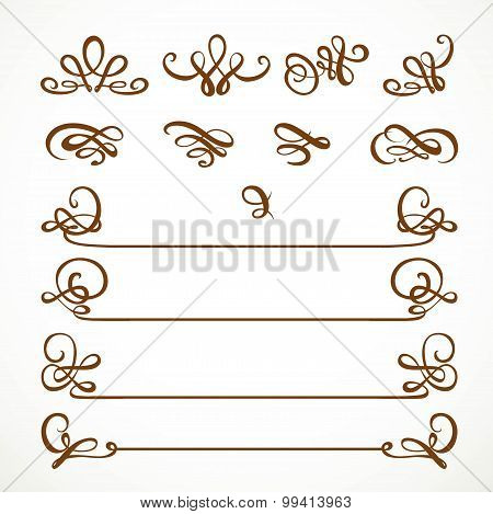 Calligraphic Vintage Elements For Design Isolated On A White Background