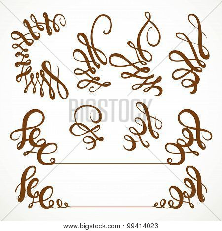 Calligraphic Vintage Elements Set Isolated On A White Background